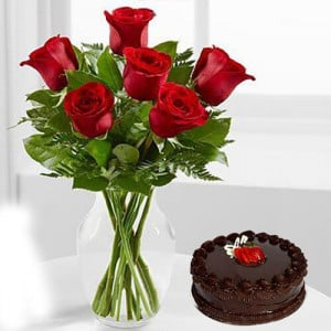 Cute Love - Flowers and Cake Online
