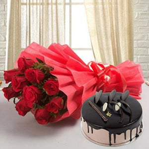 10 Red Roses with 500gm Chocolate Cake - Flowers and Cake Online