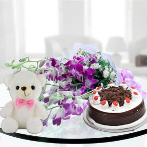 6 exotic purple orchids teddy and cake - Send Gifts to Noida Online
