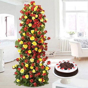 Love Forever 10 Red Yellow Roses with 500gm Black Forest Cake - Wedding Anniversary Bouquet with Cake Delivery