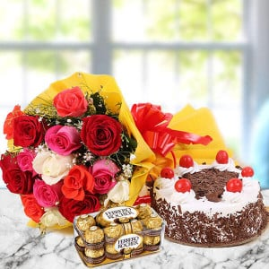 12 Mix Love Hamper - Flowers and Cake Online