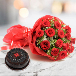 12 Roses N Chocolate Cake - Flowers Delivery in Ambala
