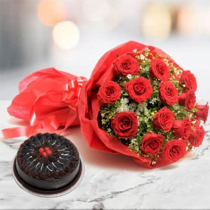 12 Roses N Chocolate Cake - Birthday Gifts Online