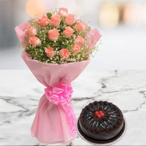 Blushing 12 Pink Roses with 500gm Chocolate Cake - Wedding Anniversary Bouquet with Cake Delivery