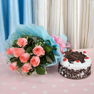 Fresh Blush Flowers 8 Pink Roses with Black Forst Cake - Online Cake Delivery in Delhi