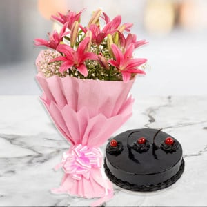 Exotic Pink - Wedding Anniversary Bouquet with Cake Delivery