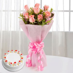 Elegant Wishes 8 Pink Roses with Pineapple Cake - Flowers and Cake Online