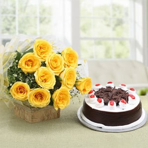 Starburst Yellow Roses N Cake - Online Flowers Delivery In Pinjore