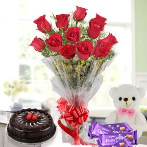 Flower Cake Hamper - 12 red roses chocolate cake teddy chocolate bars - Valentine Flowers and Cakes Online