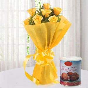 Roses N Gulab Jamun - Flowers with Sweets Online