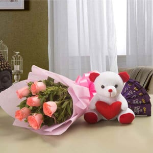 Pretty Pink hamper - Flowers with Soft Toys online