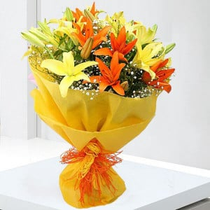 Always and Forever 12 Mix Colour Lilies - Marriage Anniversary Gifts Online