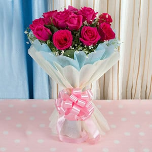 Gloriana 12 Red Roses Bunch - Online Flowers and Cake Delivery in Hyderabad