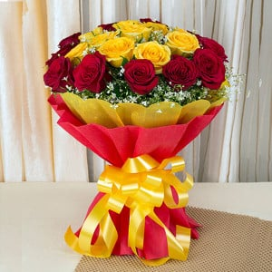 Big Hug 50 Red Yellow Roses - Marriage Anniversary Gifts Online