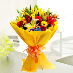 Color Blast 30 Mix Flowers Online - Marriage Anniversary Gifts Online