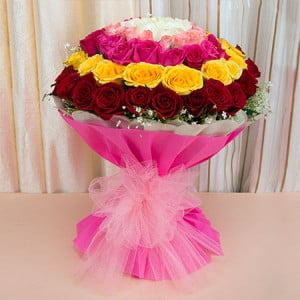 Opulence 50 Mix Roses - Flowers Delivery in Ambala