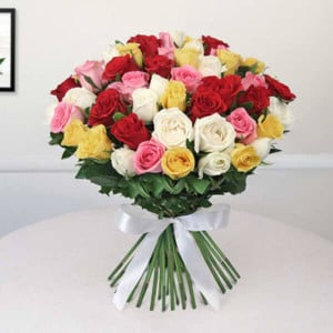 Feeble Appreciation 50 Red Yellow and White Roses Bunch - Marriage Anniversary Gifts Online