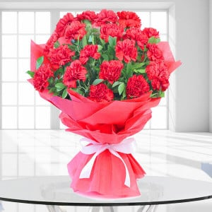 True Modesty 20 Red Carnations - Online Flowers and Cake Delivery in Hyderabad