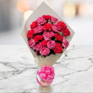 0 Pink Roses, 10 Rani Pink Carnations - Flowers Delivery in Ambala