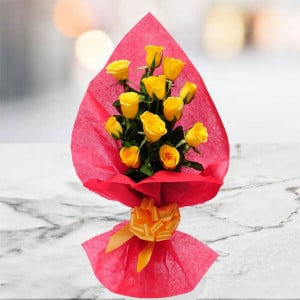 Pure Desire 12 Yellow Roses Online - Send Flowers to Durgapura | Online Cake Delivery in Durgapura