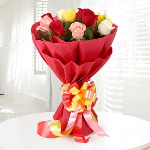 Colorful Charm 12 Mix Roses - Send Flowers to Barnala | Online Cake Delivery in Barnala