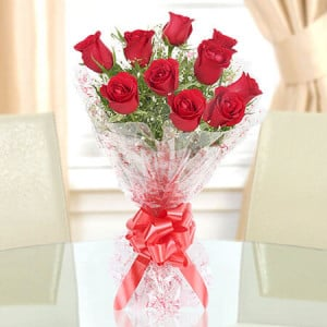 Red Roses Bouquet 10 Red Roses - 25th Anniversary Gifts