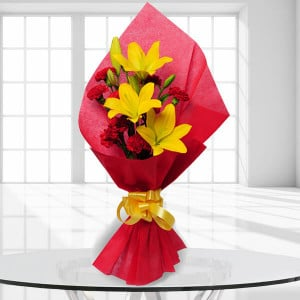 Beautiful Bouquet 10 Red Carnations and 3 Yellow Lilies - Send Birthday Gift Hampers Online