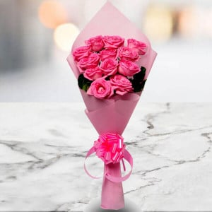 Pink Beauty 12 Pink Roses Online - Marriage Anniversary Gifts Online