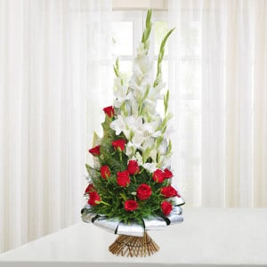 Beauty of Red and White - Flower delivery in Bangalore online