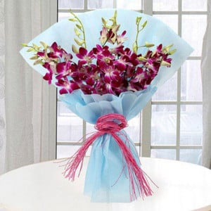 Purple Orchids 10 Orchids Online - Marriage Anniversary Gifts Online