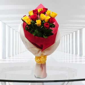 Big Hug 9 Red and 9 Yellow Roses - 25th Anniversary Gifts