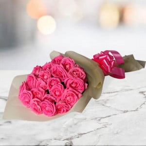Natural Beauty 20 Pink Roses - Send Diwali Flowers Online
