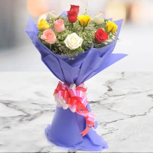 Best Wishes 12 Mix Colour Roses - Marriage Anniversary Gifts Online