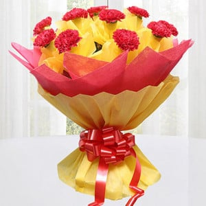 Precious Love 12 Red Carnations Online - Flowers Delivery in Chennai