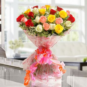 Elegant Mix 25 Mix Roses Online - Send Flowers to Indore | Online Cake Delivery in Indore