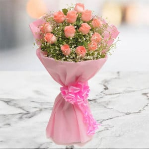 Blush 15 Pink Roses Online - Send Flowers to Vellore Online