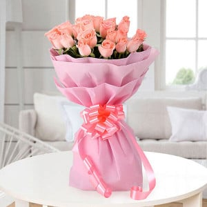 Pretty 20 Pink Roses - Send Valentine Gifts for Her