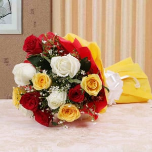 Colorful Hue 10 Mix Roses Online - Send Flowers to Barnala | Online Cake Delivery in Barnala
