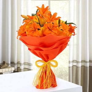 Beauty In Fire 6 Orange Lilies Online - Online Flowers and Cake Delivery in Hyderabad