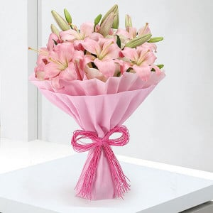 Exotic 6 Pink Lilies Online - Online Flower Delivery in Karnal