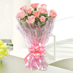 Pink Delight 10 Baby Pink Roses - Send Flowers to Barnala | Online Cake Delivery in Barnala