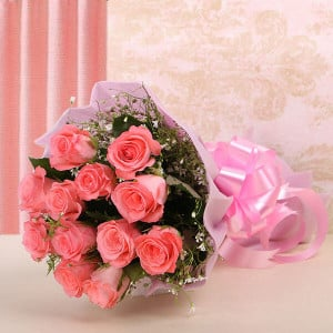 12 Baby Pink - Send Flowers to Moradabad Online