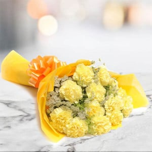 Yellow Delight 10 Carnations - Online Flowers and Cake Delivery in Hyderabad