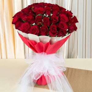 Love & Love 75 Red Roses Online - Marriage Anniversary Gifts Online