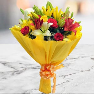 Mixed Roses N Lilies - Marriage Anniversary Gifts Online