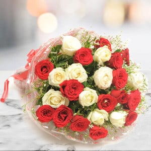 25 Red N White Roses Online - Send Flowers to Durgapura | Online Cake Delivery in Durgapura