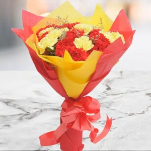 Yellow N Red Carnations - Anniversary Gifts for Wife