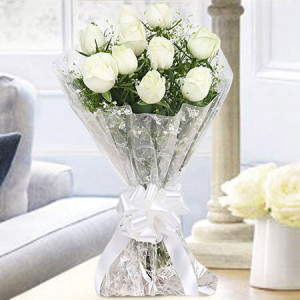 10 White Roses Bunch Online - online flowers delivery in dera bassi