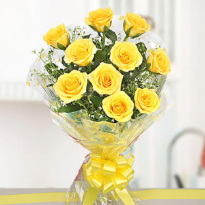 Yellow Delights 10 Roses Online - Online Flowers and Cake Delivery in Hyderabad