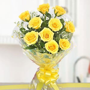 Yellow Delights 10 Roses Online - Send Birthday Gift Hampers Online